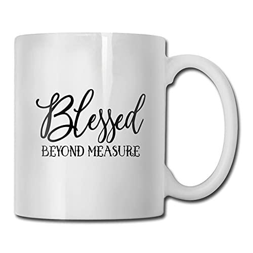 Taza de medida Blessed Beyong, taza de café para bebidas calientes, taza de gres, taza de café de cerámica, taza de té de 11 onzas, divertida taza de regalo para té y café