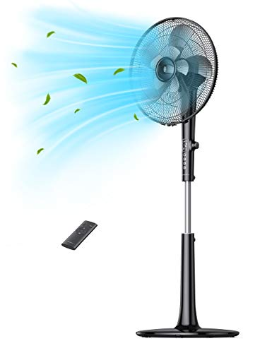 """TaoTronics TT-TF010 Pedestal Fan, Oscillating Standing with Remote, 18-Hour Timer 3 Wind Modes 12 Speed Levels Adjustable Height Electric Cooling Floor for Home Office Bedroom Use, 16"""" Blade, Black"""
