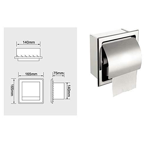 YbzyyqShop Toilettenpapierhalter, Edelstahl wasserdicht Wandeinbau verchromt mit Abdeckrolle Papierspender, rostfreier Toilettenpapierhalter for Badezimmer Küche Badezimmer Boxspender