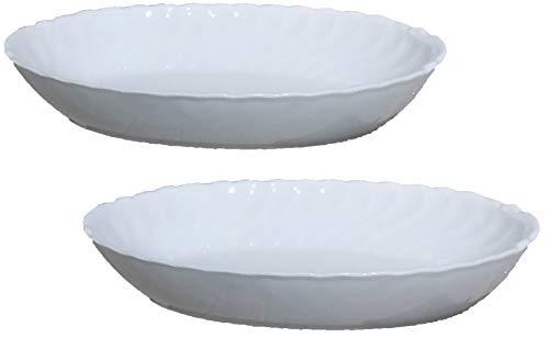 Juego de 2 cacerolas ovaladas de porcelana blanca francesa para hornear
