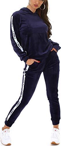 Jela London Damen Jogginganzug Nicki Velours Hausanzug Kapuzen-Pullover, Nicki Velour Sport-Streifen, Blau 34-36 (S/M)