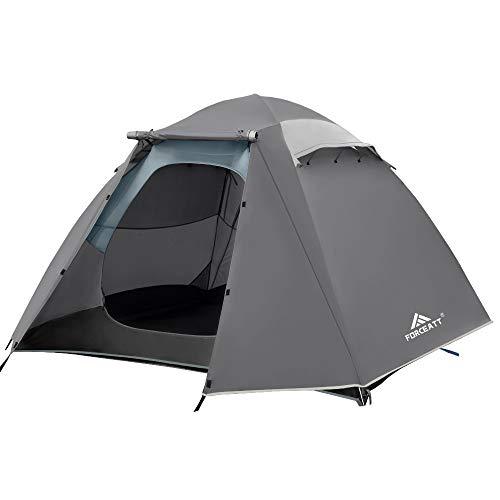 Forceatt Tienda De Campaña 4 Personas, con 100% A Prueba De UV/Viento/Impermeable, Tienda de Techo de Doble Capa Portátil Ultraligera, para Trekking, Camping, Playa, Aventura Etc