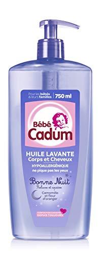 Cadum Bébé Huile Lavante, Pour Corps et Cheveux, À la Camomille et à la Fleur d'Oranger, Bonne Nuit, 750 ml