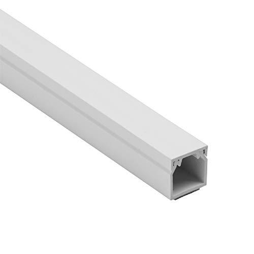 D-Line 1D1616W Square Trunking Goulotte carrée, Cache auto-adhésif, Gestion et masquage de câbles simples-1 x 16 mm (L) x 16mm (H) -sections de 1 mètre – Blanc, 16x16mm 1-meter Length