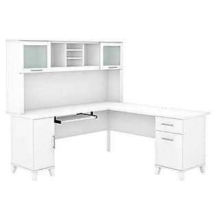 Bush Furniture Somerset L Shaped Desk with Hutch, 72W, White (B08DDKCKDH) | Amazon price tracker / tracking, Amazon price history charts, Amazon price watches, Amazon price drop alerts