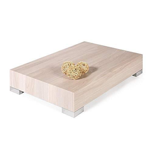 Mobilifiver Tavolino da Salotto, iCube 90, Olmo Perla, 90 x 60 x 18 cm, Nobilitato/Acciaio Inox Satinato, Made in Italy, Disponibile in Vari Colori