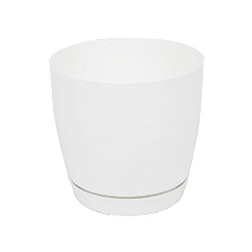 Pot de fleur Toscana en plastique rond 17 cm avec soucoupe, en blanc