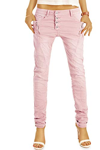 be Styled Damenjeans, Stretch Baggy Boyfriend Hüftjeans im Tapered Relaxed Fit - Knopfleiste & Reißverschluss j6i 36/S-rosa