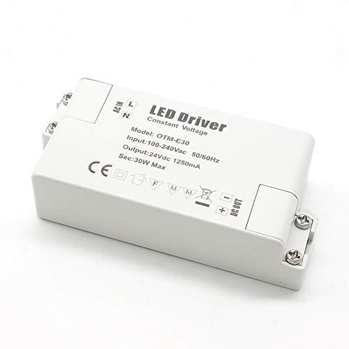 Adaptador LED VARICART IP44 24V 1.25A 30W, Fuente de Alimentación Conmutada Regulación AC DC, Transformador Constante Voltaje, Cámara CCTV, Tira de Luz, G4 MR11 MR16 GU5.3 Bombilla (Pack de 1)