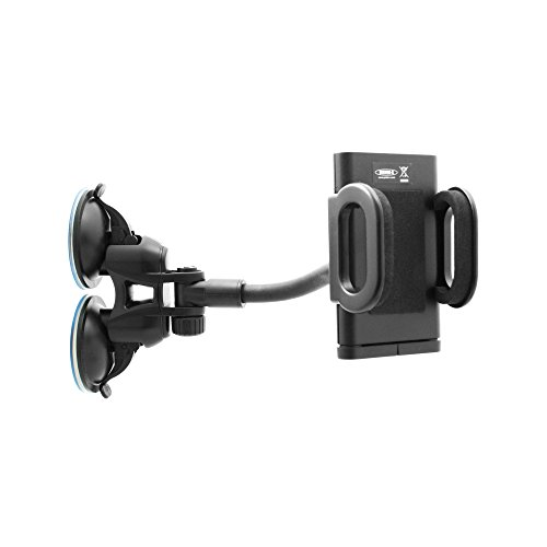 SYSTEM-S KFZ Auto Doppel-Saugnapf Armaturenbrett Windschutzscheiben Halterung mit flexiblem Haltearm (ca. 11 cm) für Smartphone Navi Handy von ca. 4,5 cm - 11 cm stufenlos verstellbar