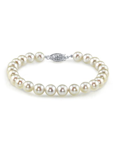 Bracciale in oro 14 K, 6,5 – 7,0 mm, con perle coltivate bianche Akoya giapponesi, qualità AAA e Oro bianco, colore: Oro/Bianco., cod. 1