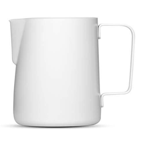 Lambda Coffee® Barista Milchkännchen 350ml | Teflon beschichteter Edelstahl weiß