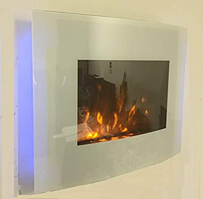 TruFlame 2019 7 COLOUR CHANGING WHITE GLASS LED WALL MOUNTED ELECTRIC FIRE WITH PEBBLE EFFECT!
