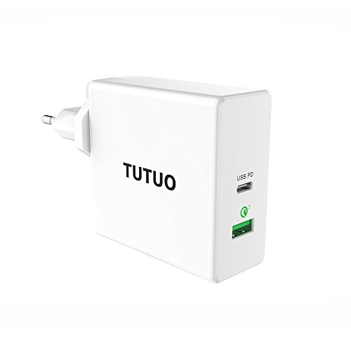 TUTUO 60W Cargador Rápido de Pared USB C PD (Power Delivery) y Quick Charge 3.0 Adaptador de Alimentación con Enchufe UK/EU/US para iPhone XS, XS MAX, MacBook Pro, iPad Pro 11, 12.9 2018