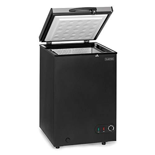 Klarstein Iceblokk - Congelador, Temperatura entre -26° y -15° C, Cesta extraíble para alimentos pequeños, Válvula de purgado, Ruedas, ECC F, Capacidad de 98 litros, Plateado