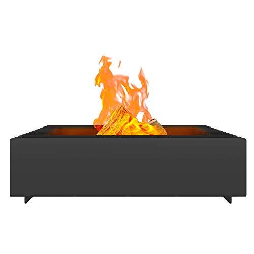 Kratki Fire Erizo Gartenfeuerschale freistehend, viereckig, Abmessungen B40 x L60 x H17,5 cm, Gewicht 40 kg, aus robustem, hitzebeständigem Stahl