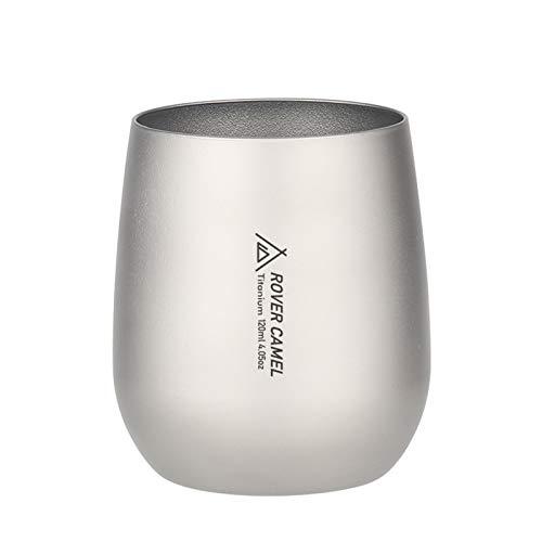Lixada Titanium Tasse Doppelwandiger Wasserbecher Camping Outdoor Ultraleichter Tee Kaffee Wasserbecher Picknick Kochgeschirr 120ml