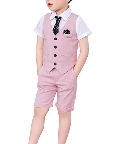 Shengwan 3 Pezzo Abito Completo Ragazzo Estate Vestito da Cerimonia Matrimonio, Vestiti Gilet + Pantaloncini + Cravatta Pink 150cm