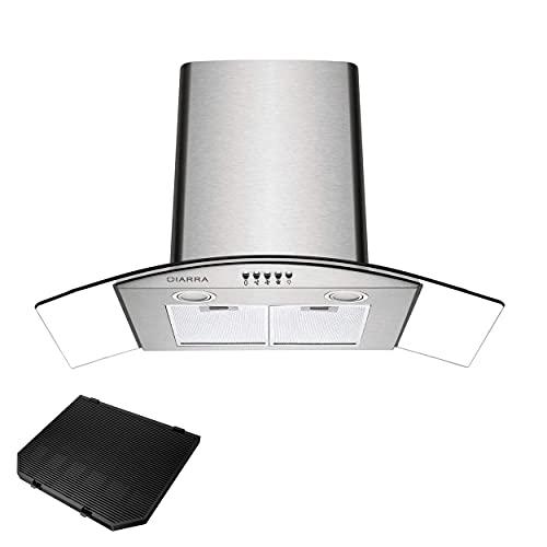 CIARRA ASS9506 Cappa Aspirante Cucina 90 cm in Acciaio Inox, cappa 90 cm Aspirazione per 650 m³/h, 3 Velocità, con Luce LED, Sfiatare All'esterno