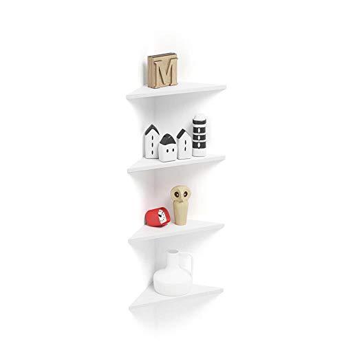 Mobilifiver Set di 4 Mensole ad Angolo Easy, Bianco Frassino, 36 x 36 x 51 cm, Nobilitato, Made in Italy