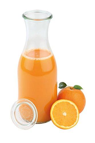 6 x Weck®-Flasche + 6 Deckel, ideal zum Servieren von Saft, Smoothie, Dressing und Saucen, spülmaschinengeeignet/Inhalt: 1,0 ltr. | SUN
