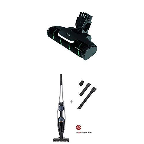 AEG QX9-1-50IB 2in1 Akku-Staubsauger + AEG AZE 137 Power-Softrolle (beutellos, 2 wechselbare Bodendüsen & Zubehör, Hartboden, Teppich, Polster, bis zu 55 min Laufzeit, LED-Frontlicht, leise, grau)
