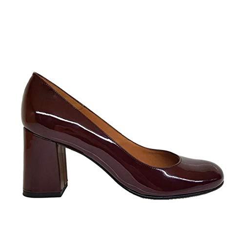 Viva - Salones Zapatos Rojos Burdeos de Piel para Mujer...