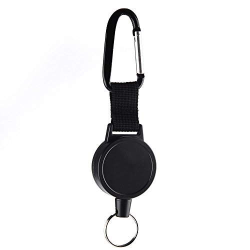KUUQA Heavy Duty Retractable Schlüsselanhänger Abzeichen Reel mit 65 cm Stahldrahtseil, schwarz