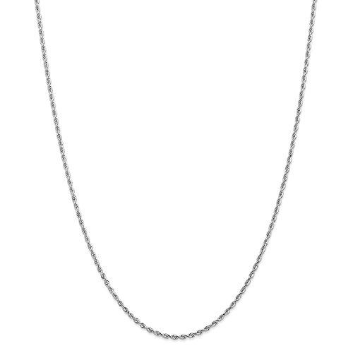 Oro bianco 14K 2mm corda moschettone catena collana, 76,2cm