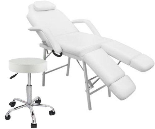 GOPLUS Portable Tattoo Parlor Spa Facial Bed Massage Table+Swivel Salon Bar Stool Chair