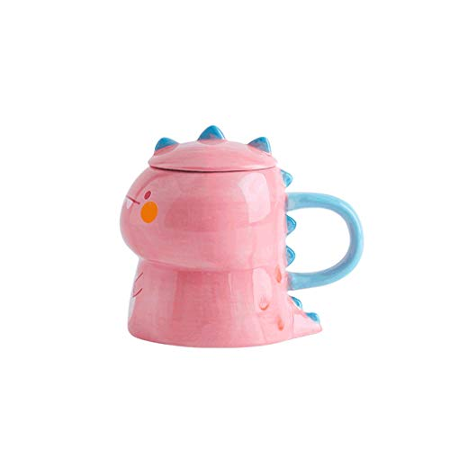 ZANZAN Conjunto de Taza de café de Forma de Dinosaurio, Taza de cerámica Linda, Gran 450 ml / 15.9oz Taza de café microondas para Bebidas frías/Caliente, Gran Regalo-4 Colores (Color : Pink)