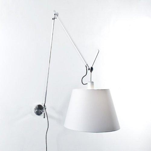 Artemide Tolomeo Mega Parete lamp, satijn, aluminium, lampenkap satijn, diameter 36 cm