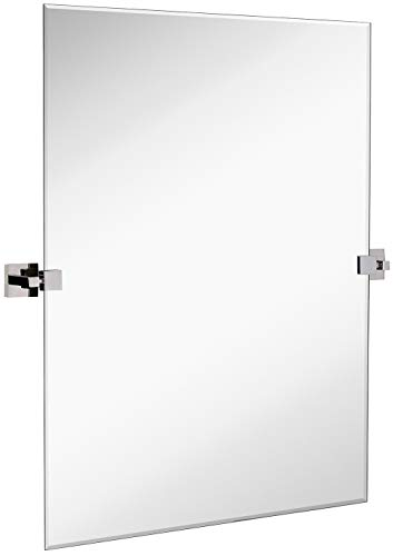 Hamilton Hills Large Squared Modern Pivot Rectangle Mirror with Polished Chrome Wall Anchors | Silver Backed Adjustable Moving & Tilting Wall Mirror | 30' x 40' Inches