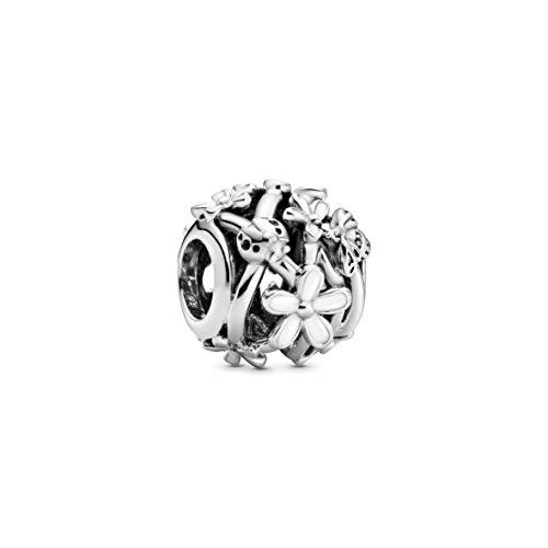 Pandora Offen gearbeitetes weißes Gänseblümchen Charm, 1,1cm, Silber