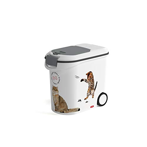 Curver Contenitore per Alimenti da 12 Kg con 2 Ruote per Gatto, 35 L, Bianco, 28 x 50 x 43 cm