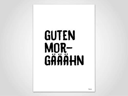 Guten Morgääähn — Poster, Kunstdruck, Bilder, Deko, skandinavisch, Papier, guten Morgen, Frühstück, Morgenmuffel, Montagsmotivation, Karten