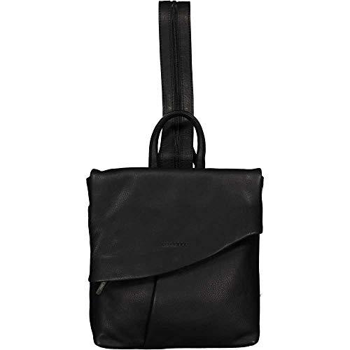 Unbekannt ESTELLE Leder Rucksack Damen Cityrucksack Daypack 24 x 28 x 06 cm (schwarz)