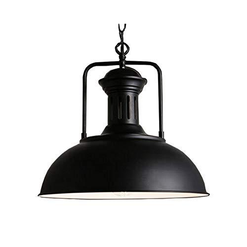 Iluminacion colgante Lámpara colgante industrial Luz pendiente retro iluminación industrial Loft de una sola cabeza de la lámpara del restaurante del hierro (Color : Black)