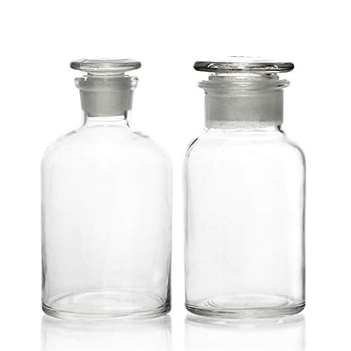 ULAB Scientific Reagent Bottle set, 1pc of wide mouth bottle, 1pc of narrow mouth bottle, with glass frosted stopper, clear glass, Vol. 500ml, URB1014