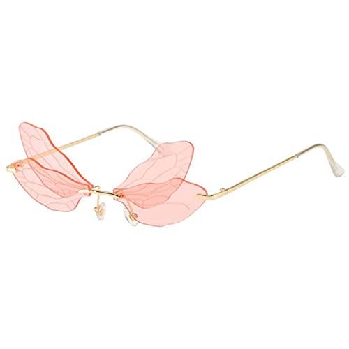 Aiyrchin Gafas De Sol Transparentes, Gafas De Sol De Gran Tamaño para Hombres Mujeres Classic Lens Metal Frame Pink