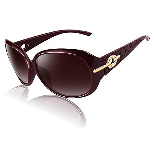 CGID Occhiali da Sole da Donna Polarizzati di Design Oversize Occhiali da Sole da Donna Classici con Montatura Rossa Grande Protezione Lenti Rosse UV M84