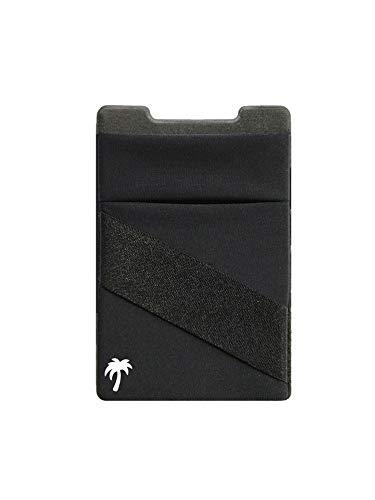 Billetera 3 en 1 para cualquier funda de teléfono | Único: Spandex + se monta en imanes + doble bolsillo + correa para dedo + bloqueo RFID – Fuerte adhesivo 3M + magnético (negro, 1 paquete)