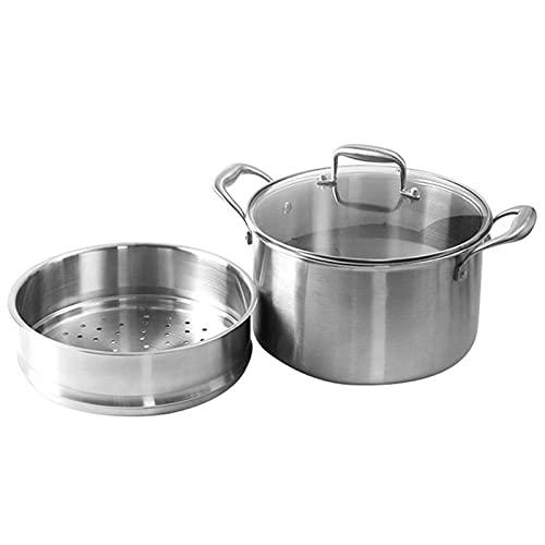 Potador de vapor de acero inoxidable - Potación de cocción de vapor de 2 capas apilable de 2 capas - Sopa de caldera doble de 24 cm Pote al vapor con tapa de vidrio
