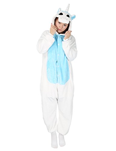 Kigurumi Unisex Anime Disfraz Cosplay Mono Pijama o Disfraz de Animal Bleu-licorne L (165/175 cm)