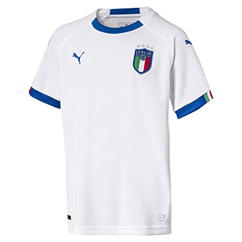 PUMA Kinder FIGC Italia Away Replica Ss Shirt, PumaWhite/TeamPowerBlue, 140