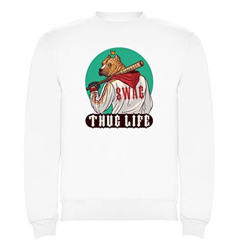 REITANO GROUP Kinder Sweatshirt Thug Life Dog Swag Pullover Tshirt Weiß Junge Mädchen ZU101 (5/6)