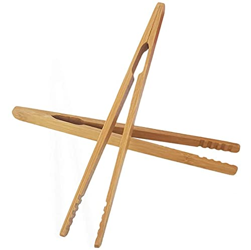 IronBuddy 2 Pack Toast Tongs Bamboo Tongs for Cooking Toast Bread Pickles Tea Bamboo Kitchen Tongs (7 Inch)
