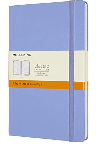 """Moleskine Classic Notebook, Hard Cover, Large (5"""" x 8.25"""") Ruled/Lined, Hydrangea Blue, 240 Pages"""