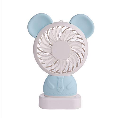 SKYEI Ventilador portátil de Mano USB, Regalo Dibujos Animados Panda Rabbit Student Regalo Mini Fan, Azul,Mano (Color : Blue)