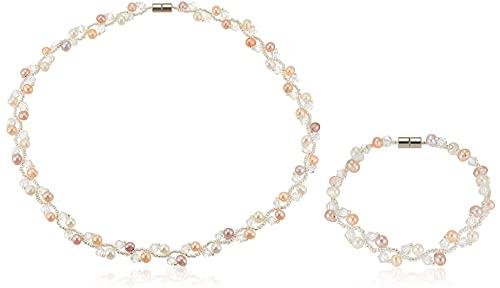 [ピュアパール] pure pearl 淡水パール&ガラスビーズ ネックブレス マルチカラー PPYG2-30NB-MU